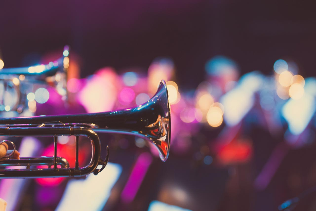 Photo of trumpets in a big band concert.